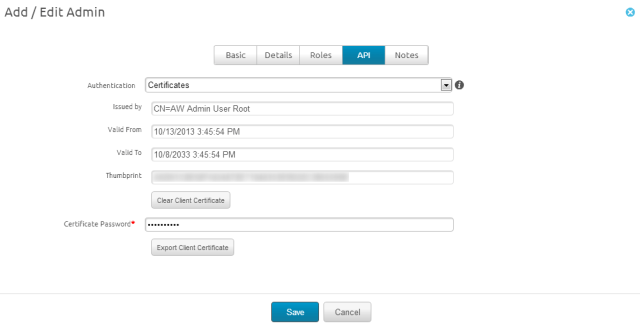 Console screenshot of adding a certificate to enable AirWatch REST APIs