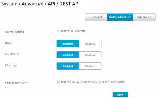 AirWatch Console screenshot of AirWatch REST API authentication settings