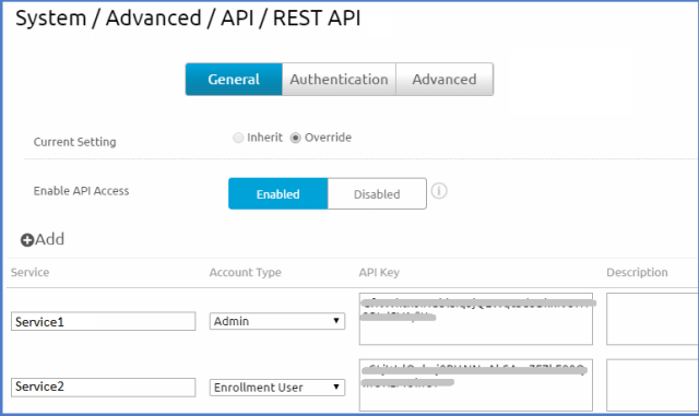 AirWatch Console screenshot of AirWatch REST API enablement settings