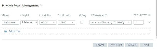 Horizon Cloud on Microsoft Azure Power Management Scheduling UI