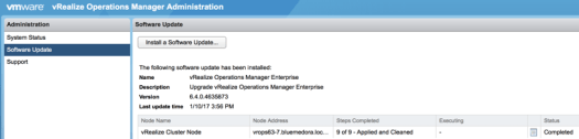 The admin console after upgrading to vROps 6.4
