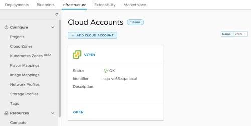 Configure vCenter Cloud Account
