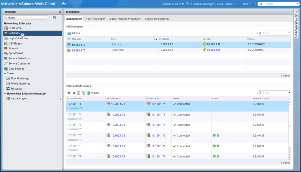 Figure 5: Cross-VC NSX Deployed Across Two Sites with Primary and Secondary NSX Manager Configured