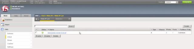 A Record Defined on Site 1 Palo Alto F5 BIG-IP DNS