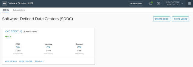 Figure 2: Deployed SDDC(s) on VMC