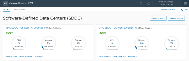 Figure 1: VMC on AWS: Two SDDCs Deployed in Different Regions