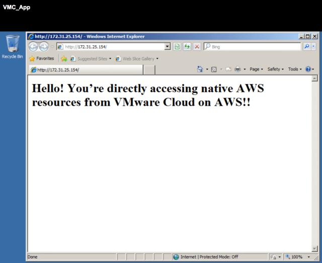 Figure 18: Accessing the Web Server on the EC2 Host from App VM in VMware Cloud on AWS via HTTP