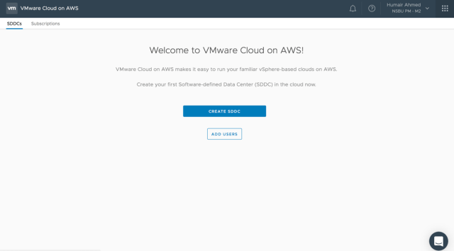 Figure 1: Create SDDC on VMware Cloud on AWS