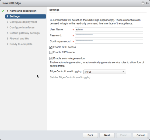 Deploy NSX Edge - Settings