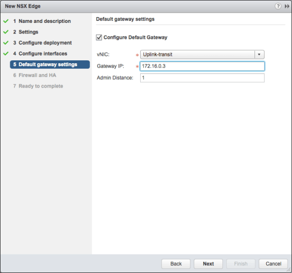 Deploy NSX Edge - Default gateway settings