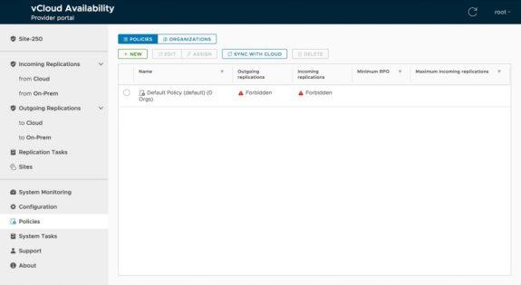 vcloud availability provider deployment default policies