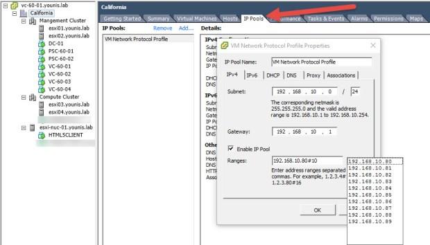 vSphere HTML5 Web Client IP Pools