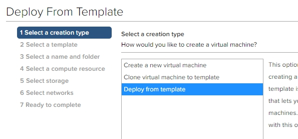 Deploy from template to get to Content Library templates