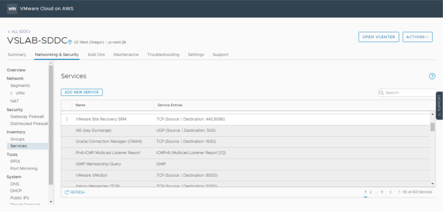 VMware Cloud on AWS Security Policies - Predefined Services
