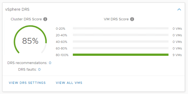 Image of the vSphere 7 DRS status pane, cluster score is 85%