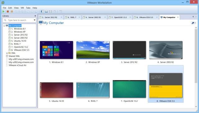 Pannello di gestione VMware Workstation