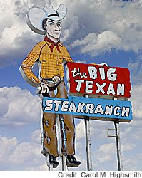 The historic sign outside, and the steaks inside, the Big Texan in Amarillo live up to the name.