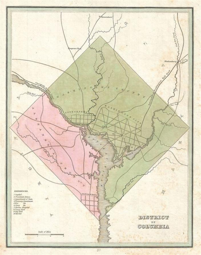 1835 map of the District of Columbia.