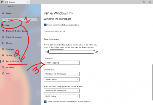 Pen & Windows Ink Settings, showing click once to open Screen Snipping