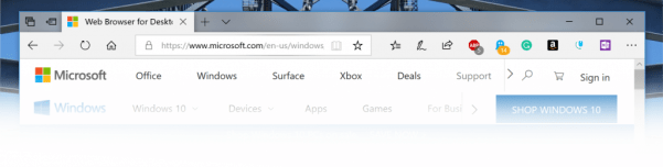 Showing the tab bar in Microsoft Edge with the new shadows.