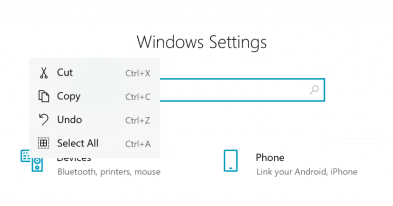 """Windows Settings search box, the text """"test"""" has been selected and right clicked, showing a commanding menu with cut/copy/undo/select all with both icons and informational hotkeys."""
