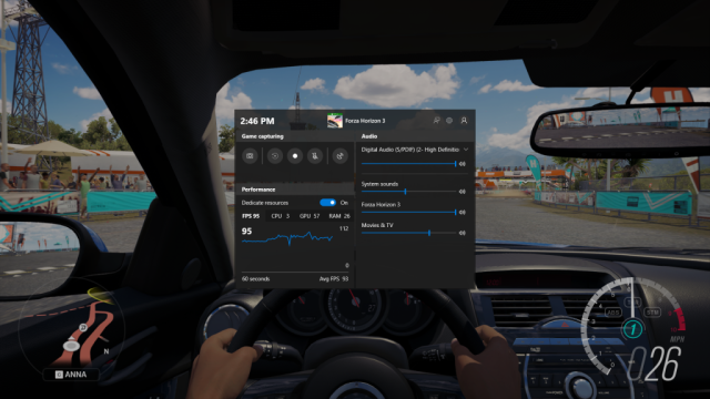 Playing Forza Horizon 3 with the new game bar UI showing. Has a performance monitor, recording controls, and audio options.