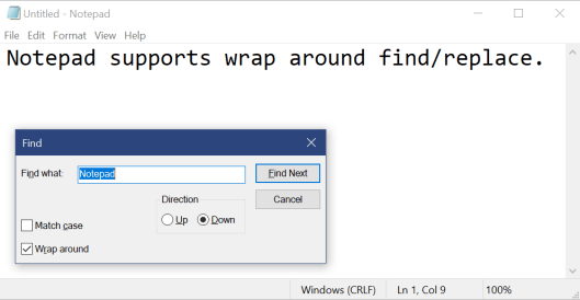 "Showing Notepad with the Find dialog visible, searching for ""Notepad""."
