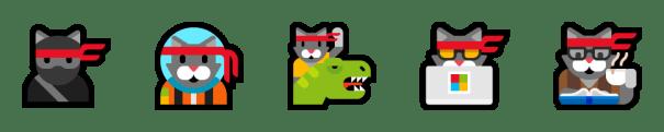 5 of the 6 ninja cat emoji – the original, astro cat, cat with t-rex, hacker cat, and hipster cat.