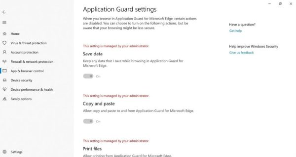 Application Guard Settings page (that you got to by clicking the link in the previous image).