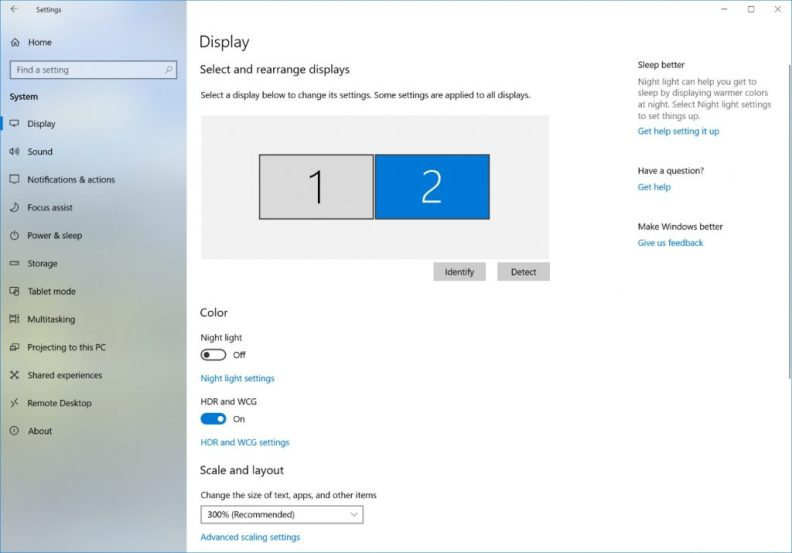 Screenshot of the display setting for HDR-capable external monitor