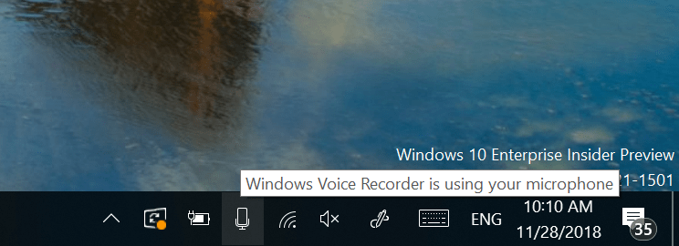 "Showing hovering over the microphone button, with a tooltip that says ""Windows Voice Recorder is using your microphone."