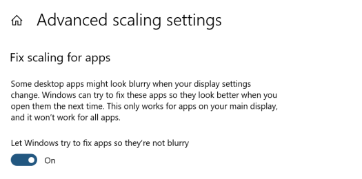 "Settings page ""fix scaling for apps"" with ""let Windows try to fix apps so they're not blurry""."