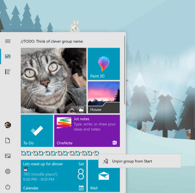 Showing a context menu above Start with an option to unpin group.