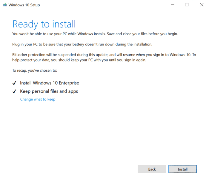 Showing how the Windows 10 Setup looks now. White background instead of blue.