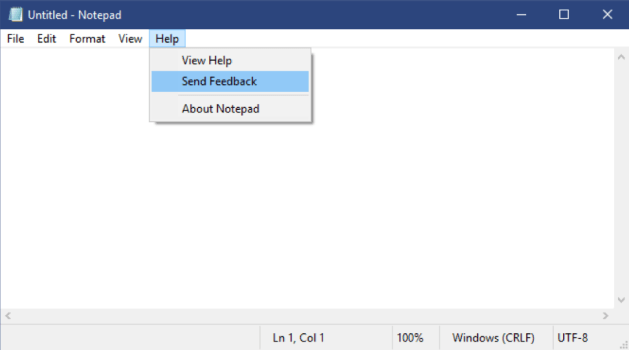 Showing the Help menu in Notepad, with a new Send Feedback option.