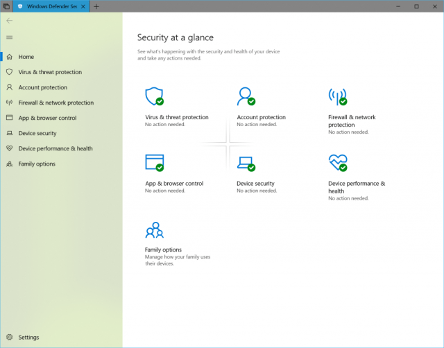 We've updated Windows Defender Security Center (WDSC) to include the Fluent Design elements.