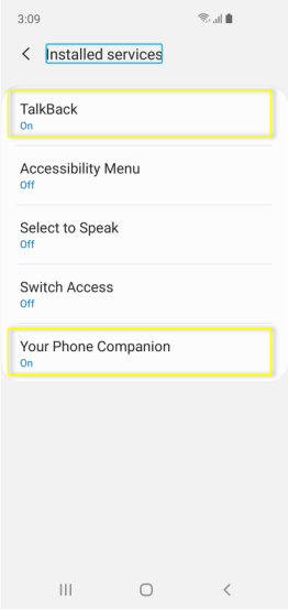 Screen showing both TalkBack and Your Phone Companion settings set to 'On'.