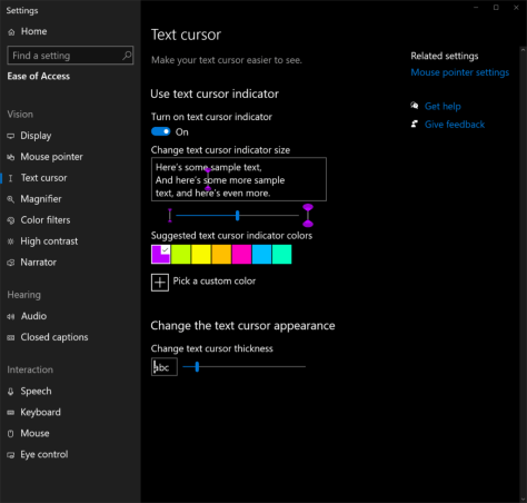 New Ease of Access settings that make text cursors easier to see and use