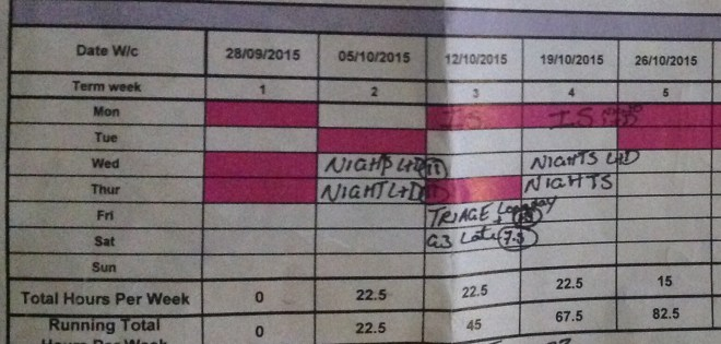 The pink =university days The hours= clinical hours that week.