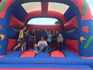 The ChemSoc committee enjoying the bouncy castle in the summer.