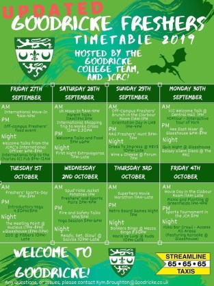 There are so many events planned as part of freshers' week