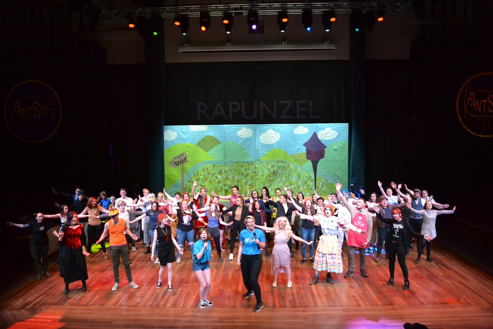This is a photo from PantSoc's most recent performance in Central Hall: Rapunzel the Pantomime!