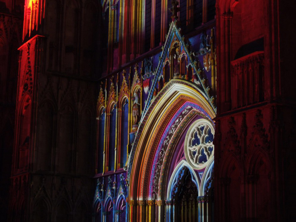 York Minster illuminated by colourful lights