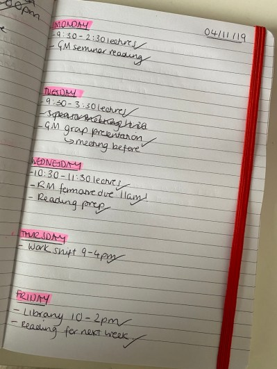 Managing a Masters - Example of my weekly planning