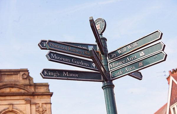 Settling in and making friends at uni - a signpost pointing out some of York's main attractions