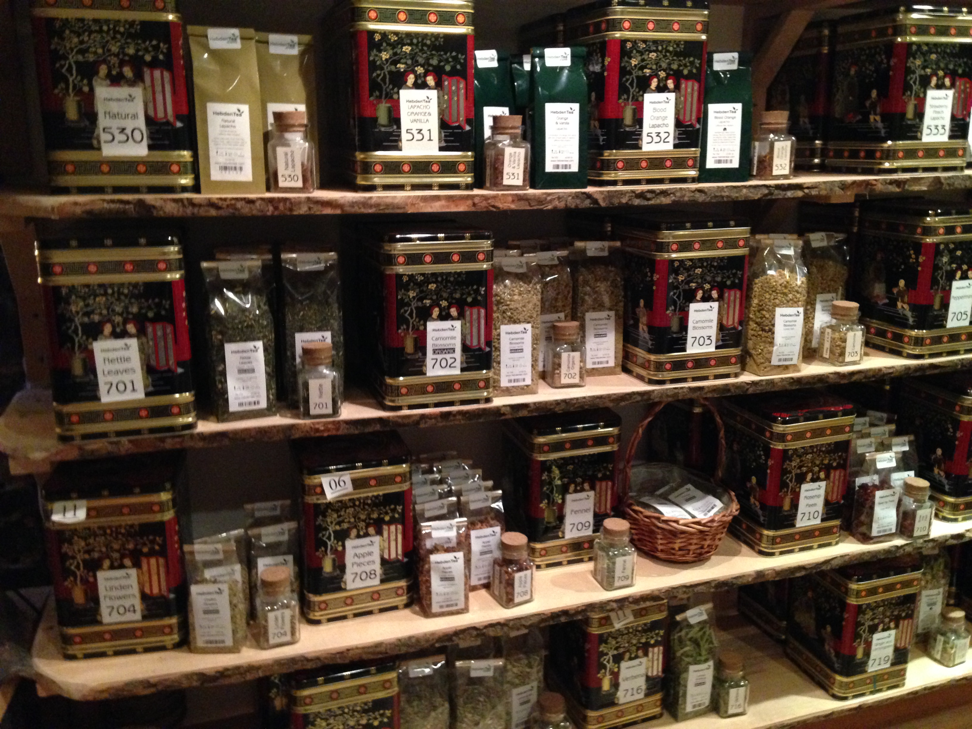 Some of the variety of teas available from Hebden Tea.