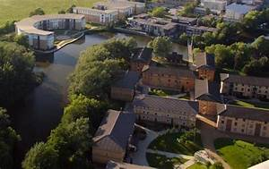 An aerial view of Campus West at the University of York