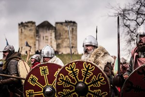 Vikings with helmets, fur coats, and holding shields, stood at the bottom of the Clifford's Tower grassy hill. Non-alcoholic activities