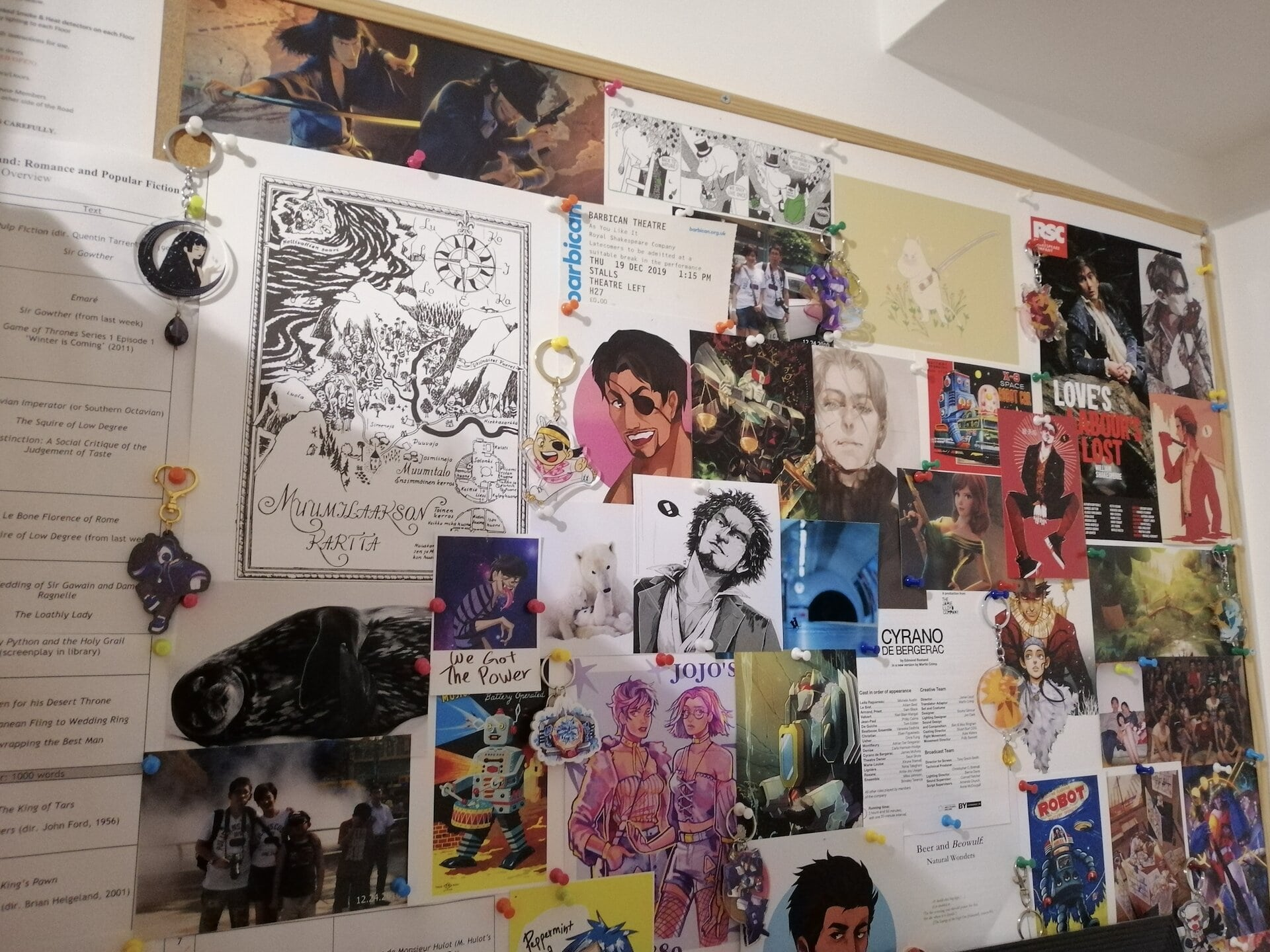 A photo of the notice board in my room