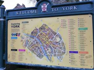 A sign which has a map of York